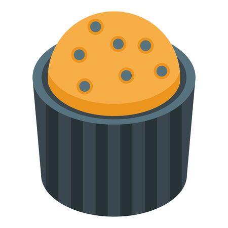 Blackberry cupcake icon, isometric style