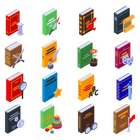 Literary genres icons set, isometric style Vektorové ilustrace
