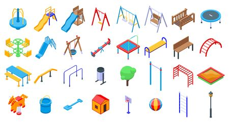 Kid playground icons set, isometric style Illustration