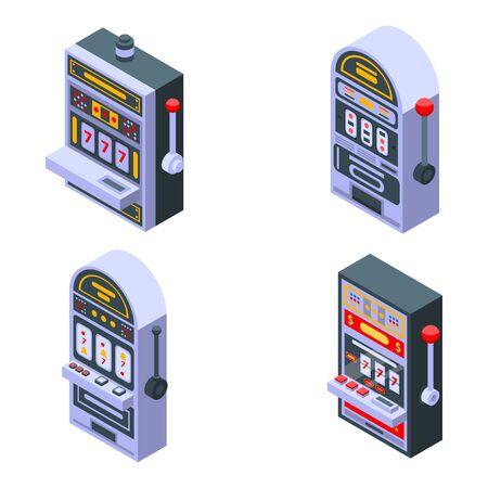 Slot machine icons set, isometric style
