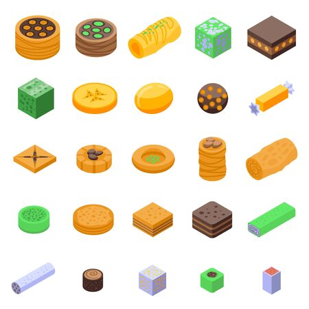 Turkish sweets icons set. Isometric set of Turkish sweets vector icons for web design isolated on white background