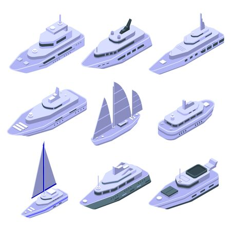 Yacht icons set. Isometric set of yacht vector icons for web design isolated on white background Illustration
