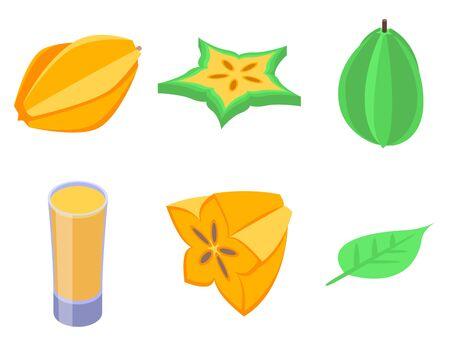 Carambola icons set. Isometric set of carambola vector icons for web design isolated on white background Illustration