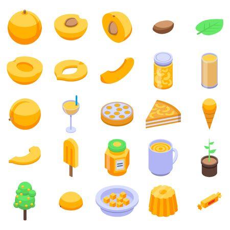 Apricot icons set, isometric style Ilustração