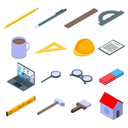 Architect equipment icons set, isometric style