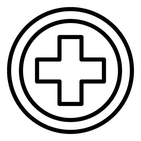 Medical cross circle icon, outline style