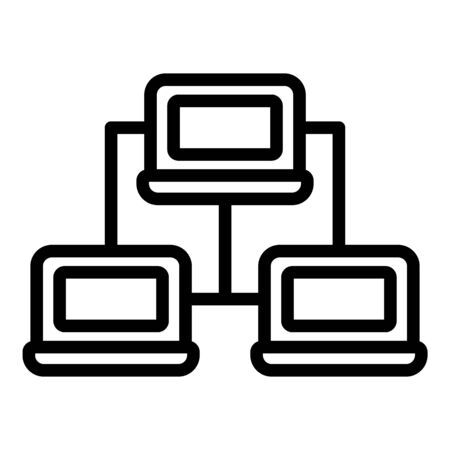 Computer network icon. Outline computer network vector icon for web design isolated on white background