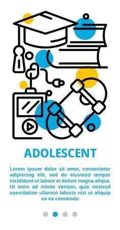 Adolescent banner. Outline illustration of adolescent vector banner for web design Illustration