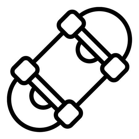 Skateboard icon, outline style 向量圖像