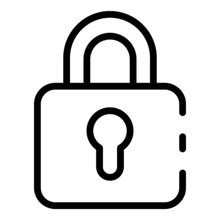 Old padlock icon. Outline old padlock vector icon for web design isolated on white background