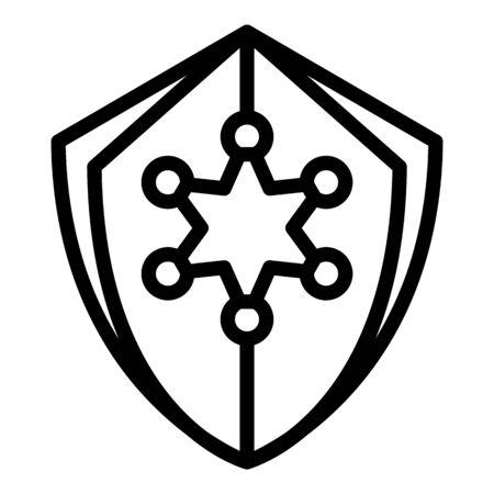 Icône de bouclier de justice, style de contour