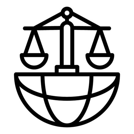 Global justice icon, outline style