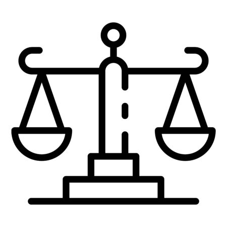 Court justice balance icon, outline style