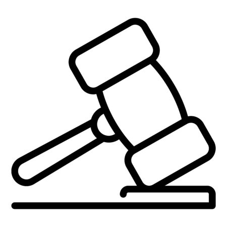 Court wood gavel icon, outline style Illustration