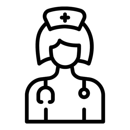 Female nurse icon, outline style