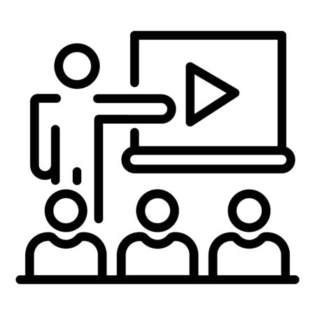 Video lesson icon, outline style Illustration