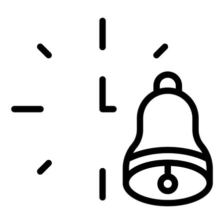 Bell ring lesson start icon, outline style