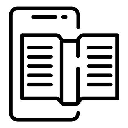 Smartphone reading icon, outline style Illustration