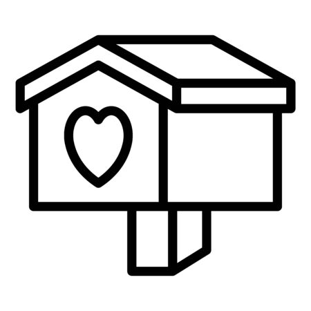 Heart bird house icon, outline style