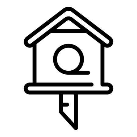 Branch bird house icon, outline style