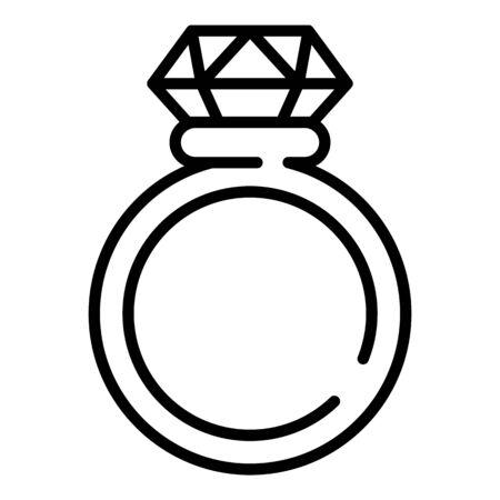 Diamond ring icon, outline style