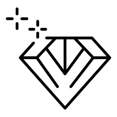 Shine diamond icon, outline style