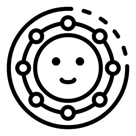 Friendship smile icon, outline style