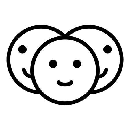 Friends emoji icon, outline style Çizim