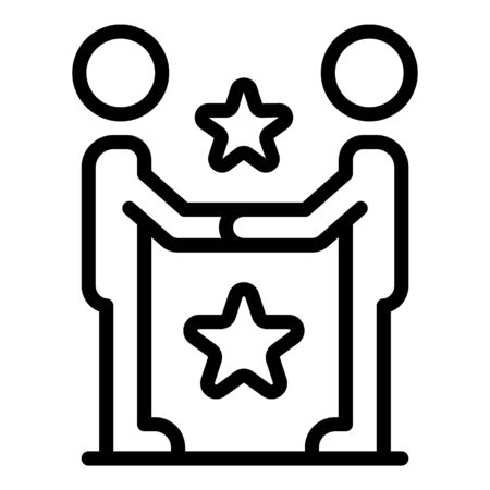 New star friendship icon. Outline new star friendship vector icon for web design isolated on white background 일러스트