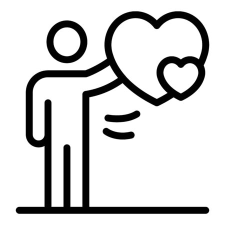 Friend take heart icon, outline style Illustration