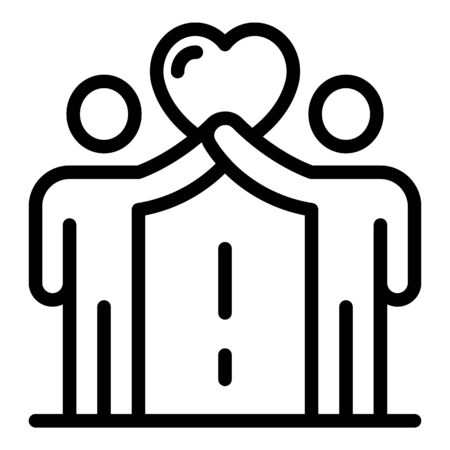 Support friendship icon, outline style