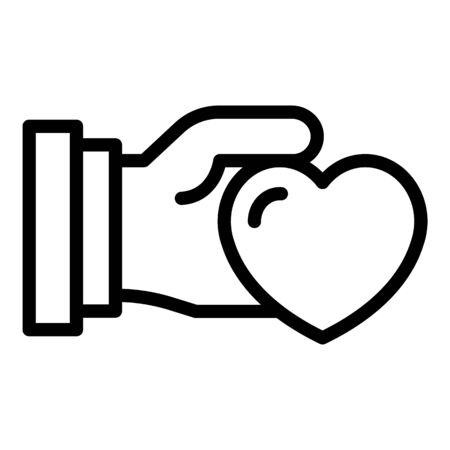 Give love icon, outline style 일러스트
