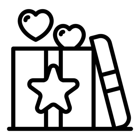Love gift box icon, outline style