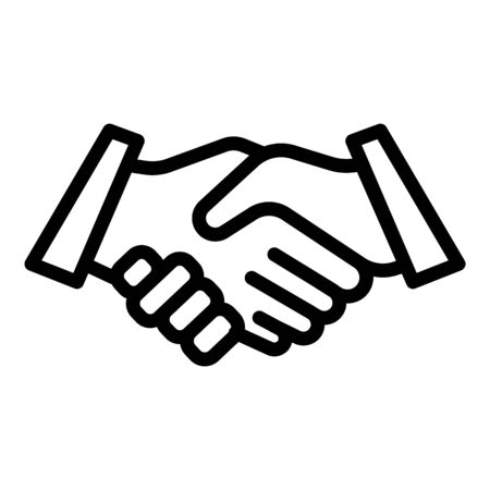 Friends handshake icon. Outline friends handshake vector icon for web design isolated on white background