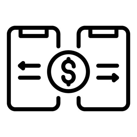 Smartphone money transfer icon. Outline smartphone money transfer vector icon for web design isolated on white background 일러스트