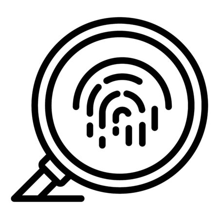 Impronte digitali sotto l'icona della lente di ingrandimento, stile contorno Vettoriali