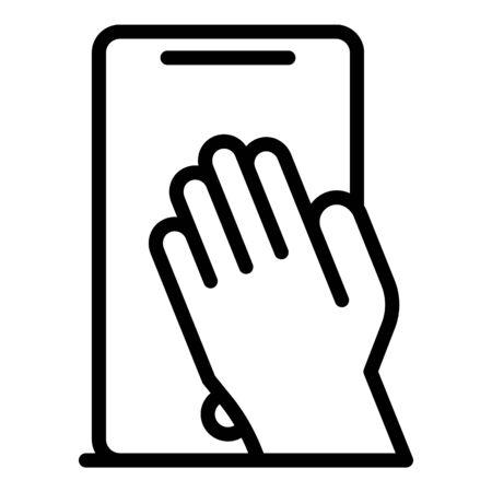 Smartphone fingerprint icon. Outline smartphone fingerprint vector icon for web design isolated on white background
