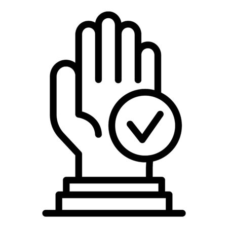 Approved authentication icon, outline style Ilustracja