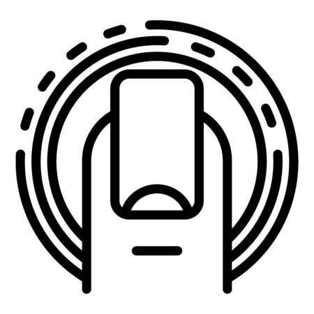 Glass fingerprint protection icon, outline style Illusztráció