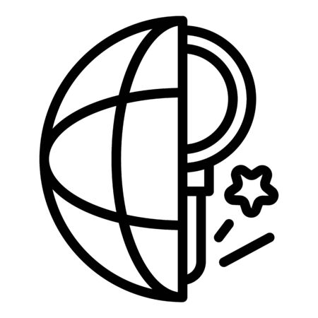 Global magnifier campaign icon, outline style Illustration