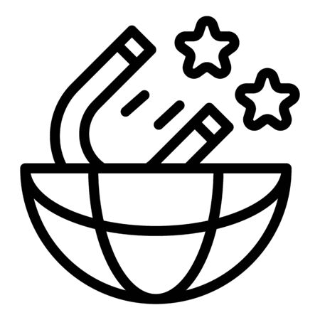 Campaign global magnet icon, outline style Stock Illustratie