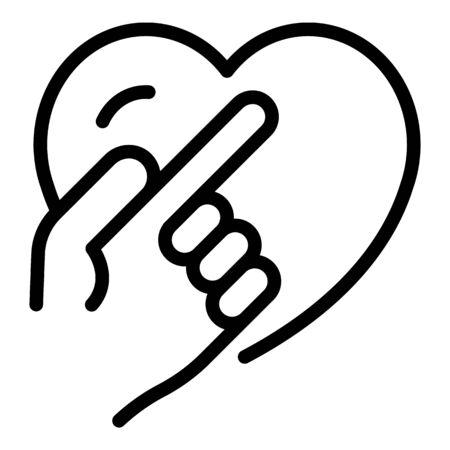 Finger show heart icon, outline style Illustration