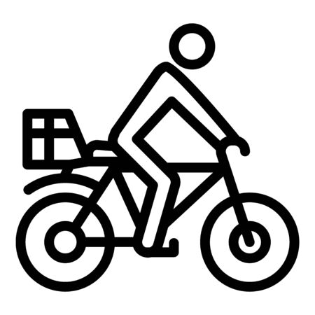 Bike delivery icon, outline style 向量圖像