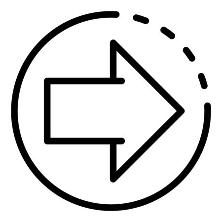 Relocation arrow icon, outline style