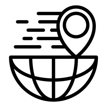 Location global parcel icon, outline style