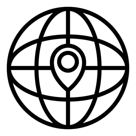 Global relocation icon, outline style