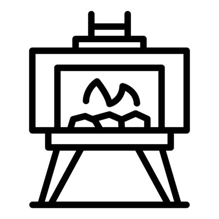 Outdoor fireplace icon, outline style