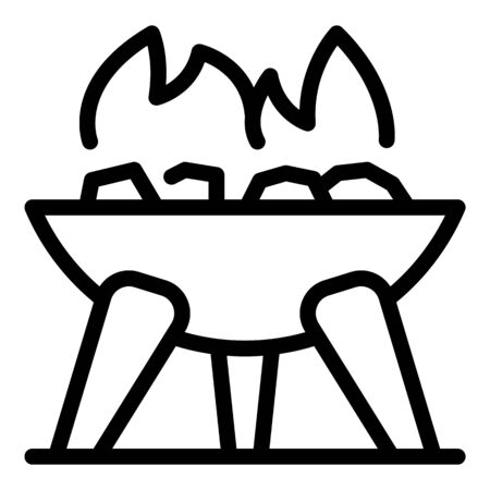 Campfire bowl icon, outline style