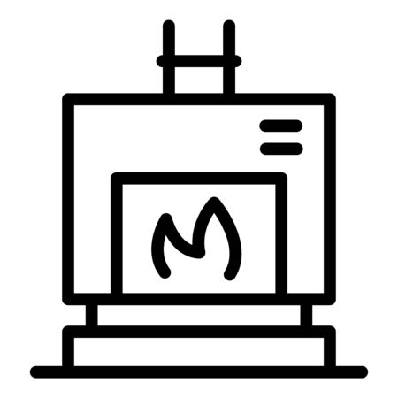 Home fireplace icon, outline style