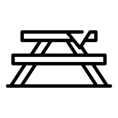 Camping table icon, outline style  イラスト・ベクター素材